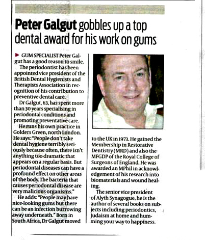 Peter Galgut periodontal Press Release1
